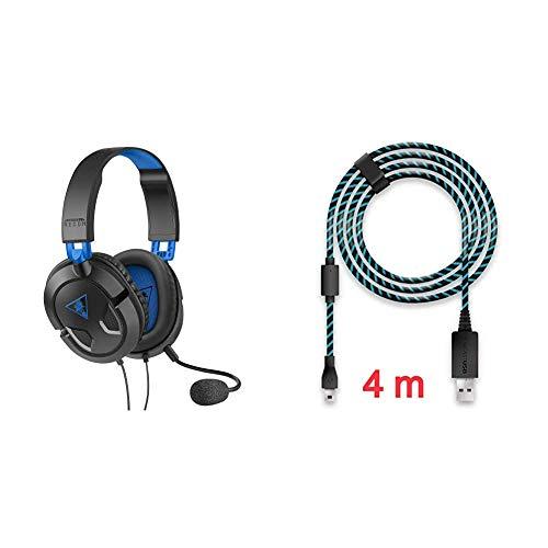 Turtle Beach Recon 50P Gaming Headset & Lioncast 4m Ladekabel/USB-Kabel/Controllerkabel für Controller der PS4 und Xbox One, Xbox One X, schwarz/blau Micro-USB