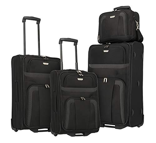 Travelite 2-Rad Koffer Set Größen L/M/S + Bordtasche, Handgepäck erfüllt IATA Bordgepäck Maß, Gepäck Serie ORLANDO: Klassischer Weichgepäck Trolley im zeitlosen Design, 098480-01, schwarz