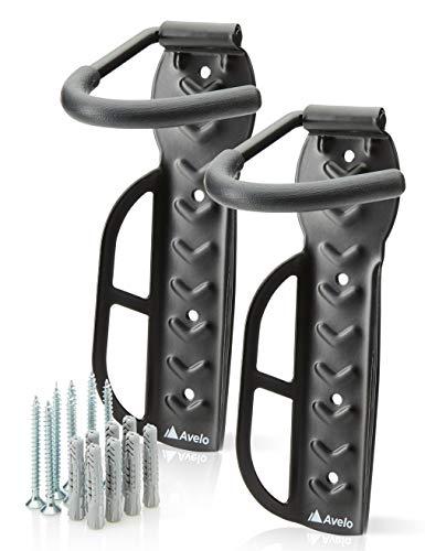 Avelo® Fahrrad Wandhalterung [2er Set] - Fahrradhalter passt für alle Räder [Aufhängung bis 25 Kg] - Fahrradhalterung Wand inkl. hochwertigem Zubehör von fischer® (Schwarz)