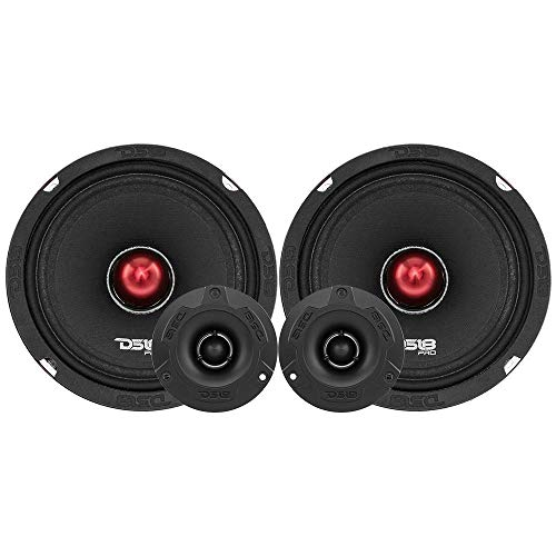 "DS18 PRO-X6.4BMPK Mid and High Complete Package - Includes 2X Midrange Loudspeaker 6.5"" and 2X Aluminum Super Bullet Tweeter 1"" Built in Crossover - Door Speakers for Car or Truck Stereo Sound System"