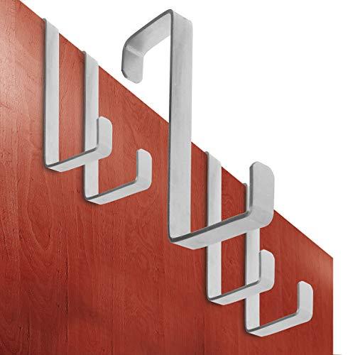 Perchero puerta – conjunto de 5 piezas, acero inoxidable – Made in Germany percha puerta sin perforación - colgador especialmente fuerte