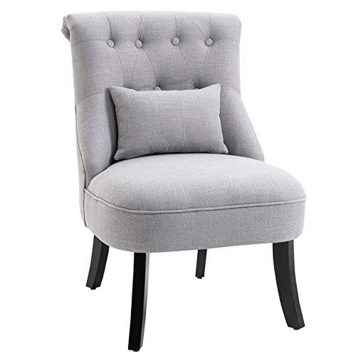 HOMCOM Relaxsessel mit Rückenkissen, Sessel, Fernsehsessel, Erhöhte Füße, Leinen, Grau, 52,5 x 69 x 77 cm
