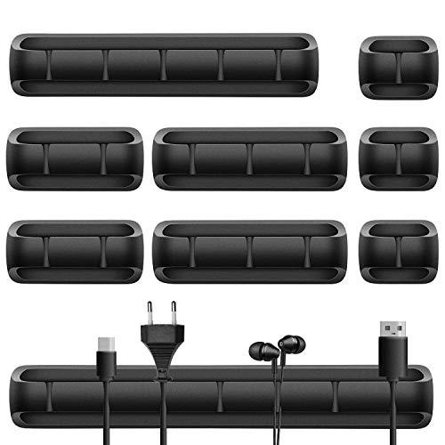 URAQT Kabelclips Kabelhalter, 9 Stück Vielzwecke Kabelführung Kabel Organizer Set, Kabel und Elektroleiter Organizer für Schreibtisch, USB Ladekabel, Audiokabel, Netzkabel, Ladegeräte, Schwarz