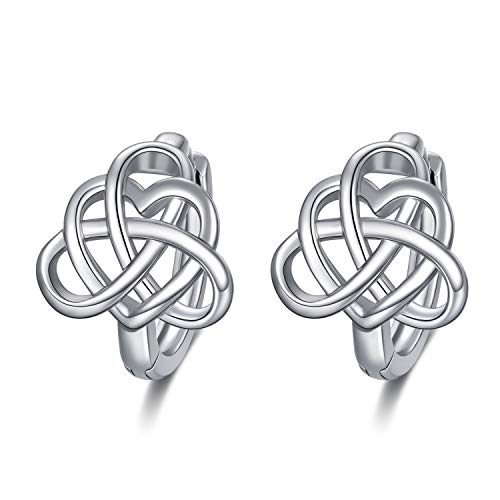 WINNICACA Celtic Knot Earrings Sterling Silver Heart Knot Small Hoop Earrings Luck Irish Jewelry Gifts for Women Birthday