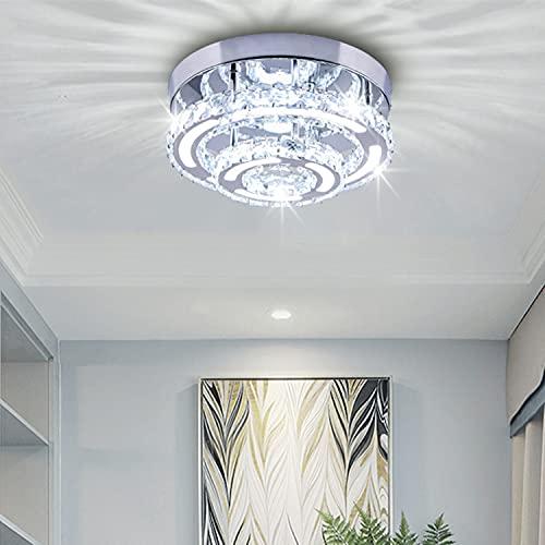 Plafoniere moderne in cristallo Lampadario a sospensione a semi-incasso a LED a 2 tondi Lampadario bianco freddo per camera da letto Corridoio Bagno