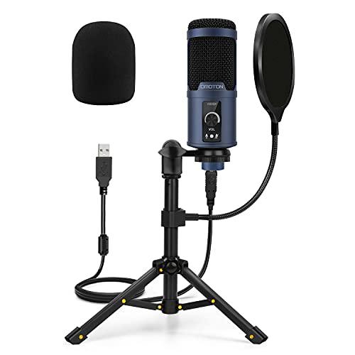 Micrófono USB Podcast PC, OMOTON Kit de Micrófono Condensador para Estudio, Grabación, YouTube, Streaming, Gaming, con Soporte de Trípode y Filtro Pod [Super Reducción de Ruido] [192kHz/24Bit] (Azul)