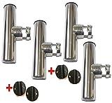 Porte Canne INOX pour Tube Ø 22/25mm (Lot de 4) Orientable INOX Pèche Bateau