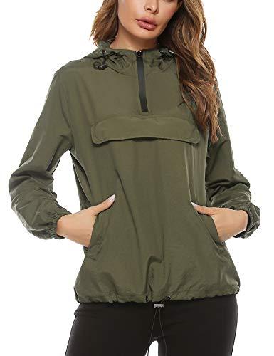 Aibrou Damen Regenjacke Leicht Jacke Windbreaker mit Kapuze Outdoorjacke Winddicht, Armeegrün XL