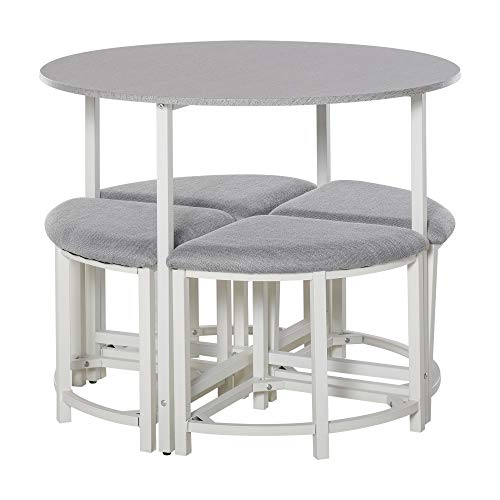 HOMCOM Modern Round Dining Table Set with 4 Upholstered Stools for Dining Room, Kitchen, Dinette