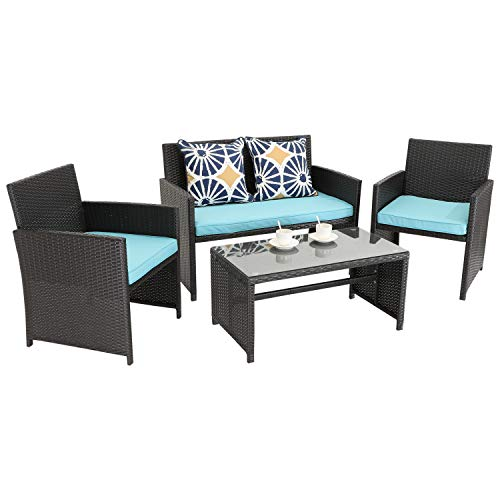 Do4U 4 Pieces Outdoor Patio Furniture Sets Rattan Conversation Set with Coffee Table Weather Resistant Garden Lawn Pool (Expresso- Turquoise)