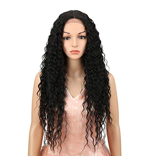 "Style Icon Lace Front Wigs 28"" Long Curly Wig for Women Black Synthetic Wigs Density 130% Heat Resistant Replacement Wig (28"", 1B#)"