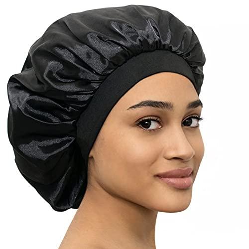 LAYKAY Silky Satin Bonnet Adjustable Head Size Sleep Silk Bonnet - Double Layer Satin Lined Sleeping Cap - Reversible Hair Bonnet Black