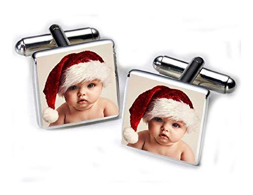 Photo personnalisé plaqué argent Boutons de manchette de Noël cadeau-souvenir Unique pour homme