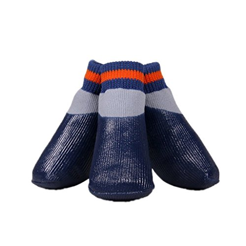 SAMGU Hund Welpen Katze Gummi Schuhe Anti Rutsch Socken Haustier Wasserdicht Farbe tiefes Blau Size 3