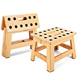 Jiodux Folding Step Stool - Folding Wooden Stool Great for Kitchen Garden Bedroom Camping Indoor go Fishing, Foldable Step Stool Holds up to 300 Lbs -8.8 inch Height