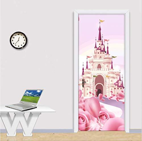 3D Türtapete Selbstklebend Türposter,Türaufkleber Cartoon Pink Castle 3D Fototapete Für Kinderzimmer Mädchen Prinzessin Schlafzimmer PVC Selbstklebende wasserdichte Wandbild
