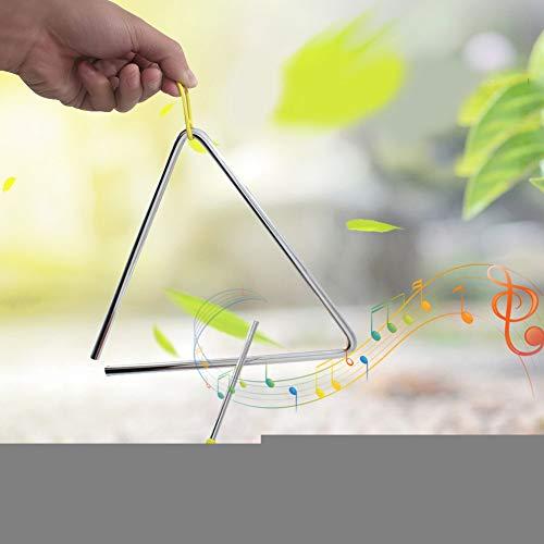 con triángulo de acero colgante amarillo, triángulo musical, para niños, niños