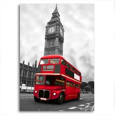 Agxdsq Puzzle 1000 Piezas Red Bus Negro Blanco parís Londres Serie 3 Puzzle Rompecabezas, Puzzle Adultos, Puzzle Creativo50x75cm(20x30pulgada)