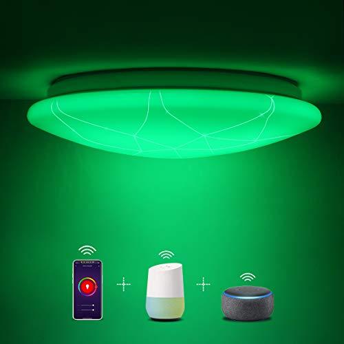 SHILOOK Smart Deckenleuchte Led Dimmbar, 15W Alexa Kompatibel Deckenlampe Rund RGB Farbwechsel IP44 Wasserdicht Badezimmer Schlafzimmer, 26cm