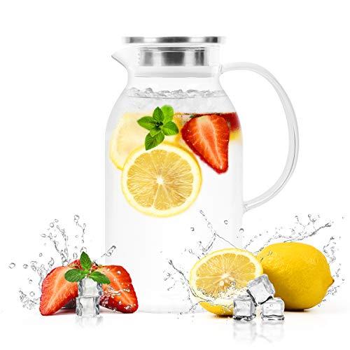 BONNACC Jarra de Vidrio 304 de 2 litros y 68 oz con Tapa de Acero Inoxidable, Jarra de té, Agua Helada, fría, Caliente, Vino, café, Leche y Jugo, Jarra con Filtro y Cepillo, Apto para microondas