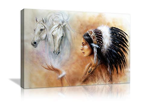 Native American Indian in Ethnic Feather with Horse Canvas Painting Native American Wall Art Picture Modern Poster Print Artwork Home Decor for Living Room Framed Ready to Hang