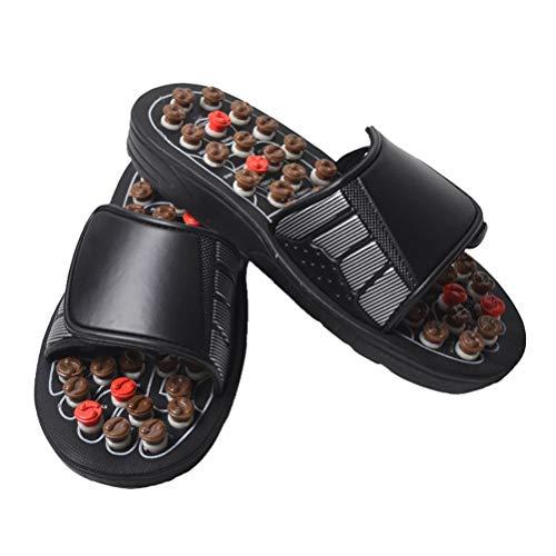 Dbtxwd Zapatillas de Masaje para la Terapia del pie para la Fascitis Plantar Zapatos sanos Antideslizantes, Puntos de acupuntura giratorios extraíbles Zapatos de Masaje para Mujeres Hombres,Brown,45