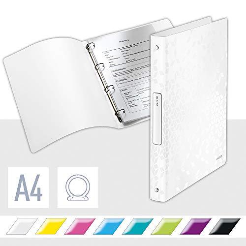 Leitz WOW Ringbuch für bis zu 190 Blatt, A4, 25 mm Rückenbreite, 4 D-Ring Mechanik, Perlweiß, Kunststoff, WOW, 42580001