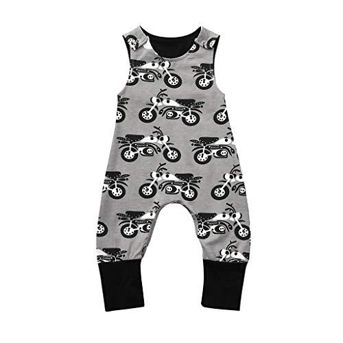 LEXUPE Neugeborene Baby-Jungen-Nette Auto-Druck-Overall-Bodysuit-Spielanzug-Kleidung (Grau, 70)
