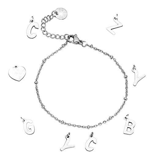 Beloved Bracciale componibile con sferette in acciaio – personalizzabile fino a 15 lettere e simboli pendenti – nome, parola, iniziali, simbolo – colore silver (6 Lettere/Simboli)
