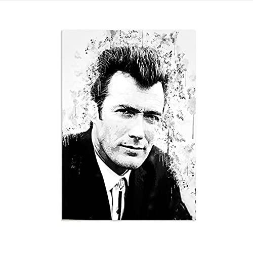 Akvarell Clint Eastwood svart vit skiss affisch stilig man amerikansk skådespelare film regissör konsttryck heminredning -50x70cmx1st - ingen ram