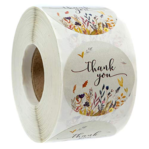 """Autumn Floral Thank You Stickers - 1.5"""" Circle Labels / 500 per Pack"""