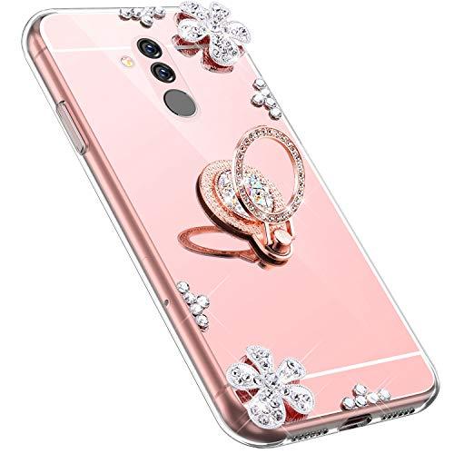 MoreChioce kompatibel mit Huawei Mate 20 Lite Hülle,kompatibel mit Huawei Mate 20 Lite Handyhülle,Bling Glitzer Spiegel Silikon Diamant Rosa Gold Blume Schutzhülle Crystal Bumper mit Ständer
