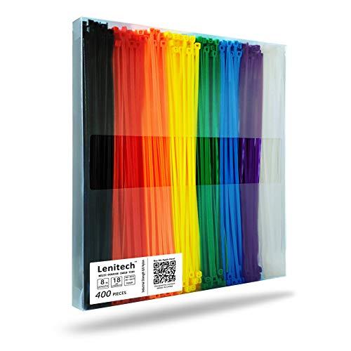 Lenitech - Fascette stringicavo multiuso, 20 cm, 400 pezzi, colori assortiti