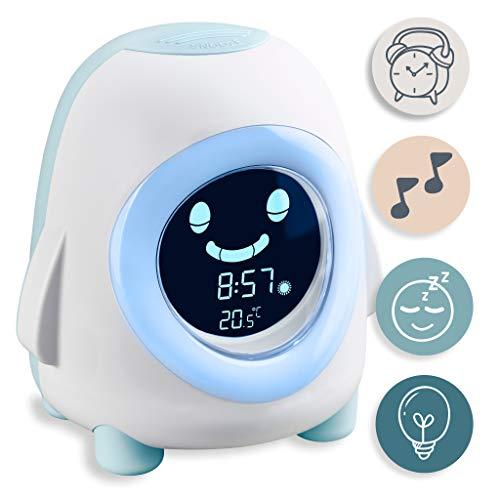 snuutje Licht-Wecker Pino Kinderwecker mit Nachtlicht, Musik und Beleuchtung, Aufwach- und Schlaf-Trainer, Einschlafhilfe für Jungen und Mädchen