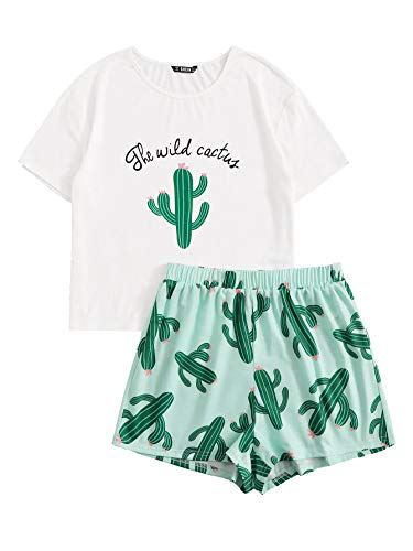 DIDK Conjunto de pijama de manga corta con estampado de dibujos animados para mujer, Verde cactus, S