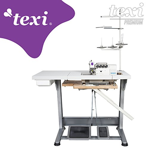 TEXI Overlock Industrienähmaschine - 4 Faden 2 Nadeln - Industrie Industrielle Nähmaschine - Komplett (mit Tisch & Gestell)