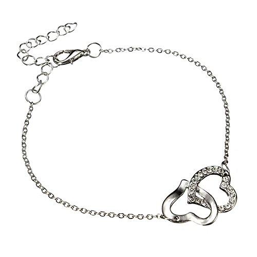 Beyond Dreams® Armkette Damen Silber Zirkonia Ineinander verschlungene Herzen Gliederarmband mit Verlängerungskettchen