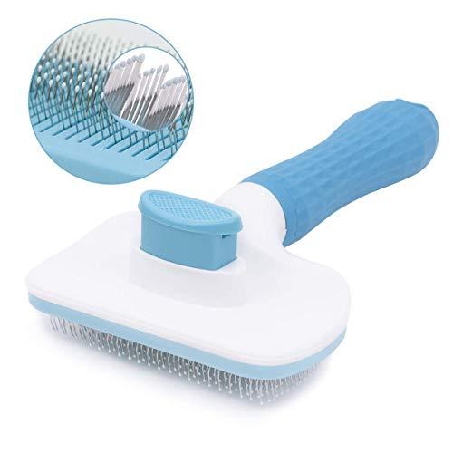 Voarge - Spazzola per cani e gatti, autopulente per la pulizia di animali domestici, spazzola per la pulizia di animali domestici, spazzola per cani e gatti (blu)