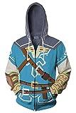 Harrypetter Link Sudadera con Capucha Adulto Disfraz de Cosplay de Juego Chaqueta con Capucha de Impresion 3D Camisa de Entrenamiento Azul, M