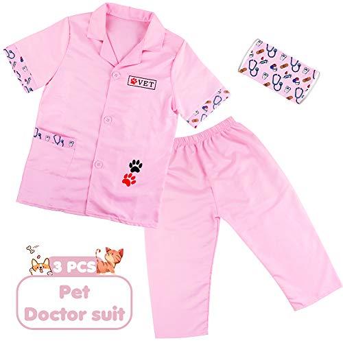 Bata Medico Juguetes Montessori Juego de rol de Médico de Regalos Disfraz para Enfermeras Niña Niño 3 4 5 6 Años (3PCS)
