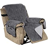 Recliner Covers Velvet Slip Resistant Recliner Sofa Slipcover Seat Width Up to 28' Couch Furniture Protector with 2' Elastic Straps Recliner Cover - Grey
