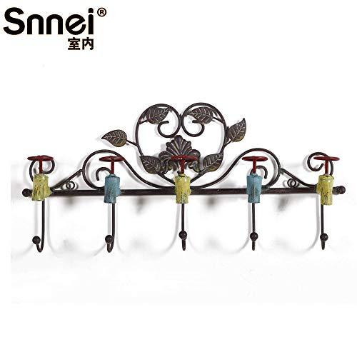 WANDOM decoratief strijkijzer met haken, 5 koppen, Europese wandbekleding, wit, mooi, landhuisstijl, creatieve vorm van de kraan K1350