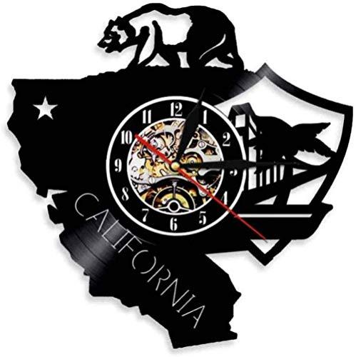 California Bear Cali Life Reloj de Pared California Disco de Vinilo Reloj de Pared Republic State Bear Flag Reloj de Bolsillo de Estilo Retro-None_Led