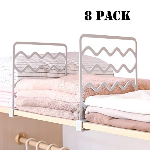 Sooyee 8 PCS Acrylic Shelf Dividers,Perfect for Closets Kitchen Bedroom Cabinets Shelving Separators to Organize Clothes, Books,Towels and Hats, Purses,Thickened Wood Shelf Dividers, White