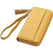 Travelambo Womens Wallet Tassel Bifold Ladies Cluth Wristlet Wrist strap Long Purse (Access Yellow)