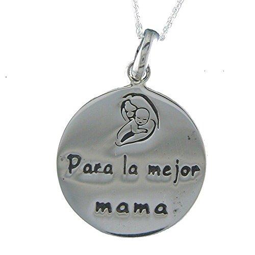 Alylosilver Collar Colgante Medalla Madre de Plata para Mujer - para la Mejor Mama. Incluye Cadena de Plata de 40 cm y Estuche para Regalo