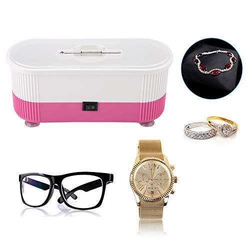 Ultraschallreiniger, Ultraschallbad Reinigungsgerät für Brillen Schmuck Wasserdicht Uhren Zahnprothesen, Digital Putzmaschine Cleaner Reiniger mit Korb für zuhause(Rosa)