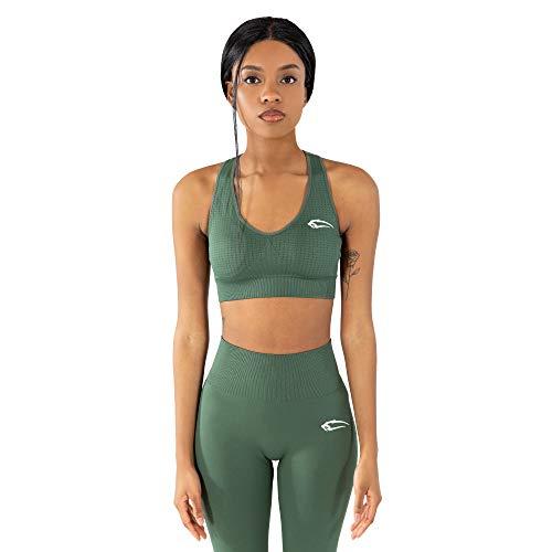 SMILODOX Bra Sensitive | Fitness-BH ohne Bügel | Herausnehmbare Cups | Bustier für Pilates Yoga Gym Fitness | Soft, Größe:XS, Farbe:Grün