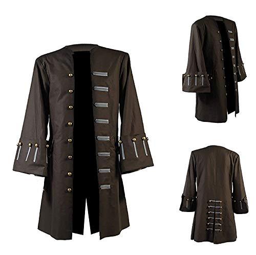 Jacket Craft Capitán Johnny Depp - Abrigo de piratas de algodón marrón y negro para hombre - - 3XL ( 124/127 cm pecho)