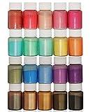 DEWEL 20er×10ml Epoxidharz Farbe, Mica Metallic Pulver Seifenfarbe Set Resin Gießharz...